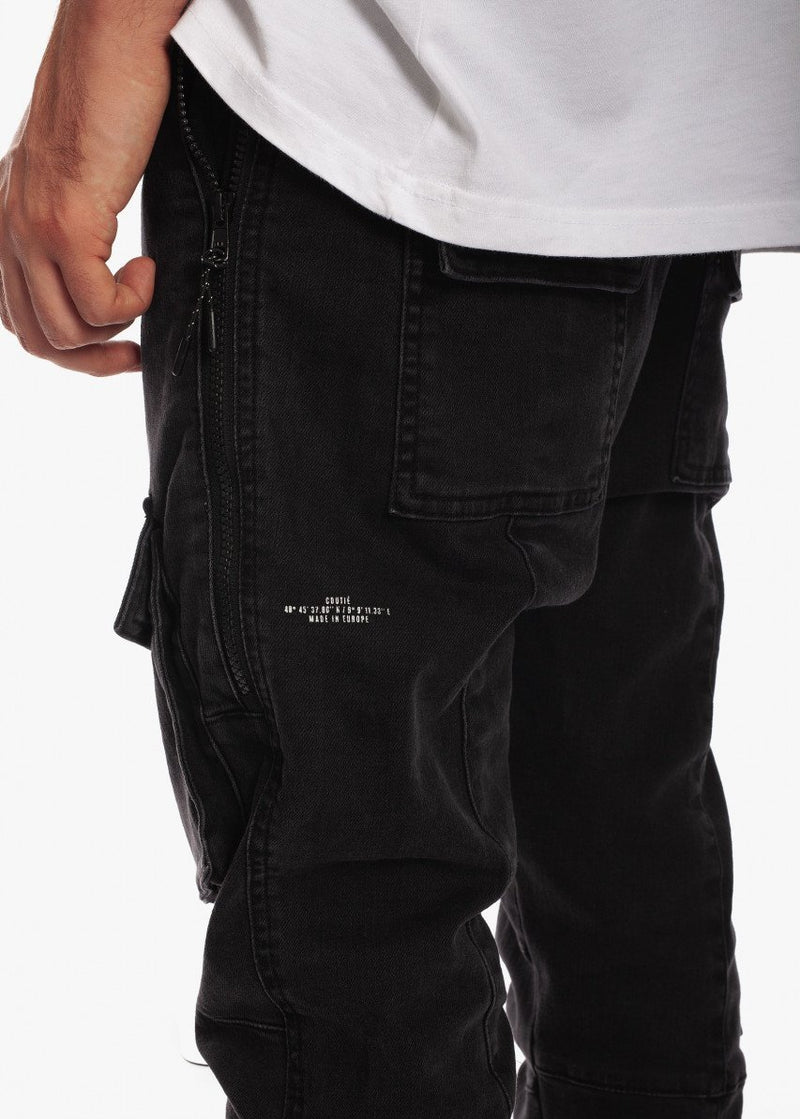 Tactical Track Denim Jogger Black