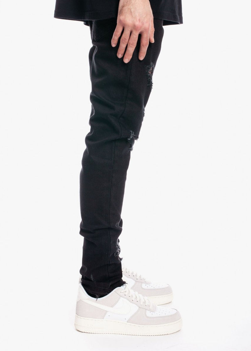 Tapered Denim V2 Distressed Black