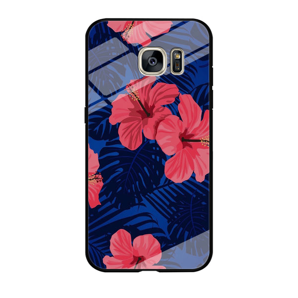 Flowers Gumamela Blue Night Samsung Galaxy S7 Edge Case
