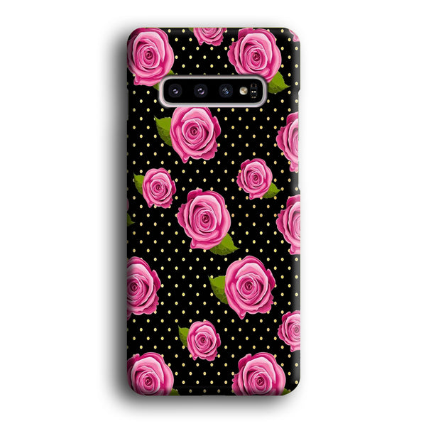 Flowers Rose Black Polka Dot Samsung Galaxy S10 Case