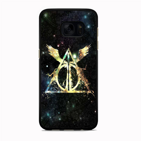 Harry Potter Deathly Hallows Light Dark Floral Samsung Galaxy S7 Case