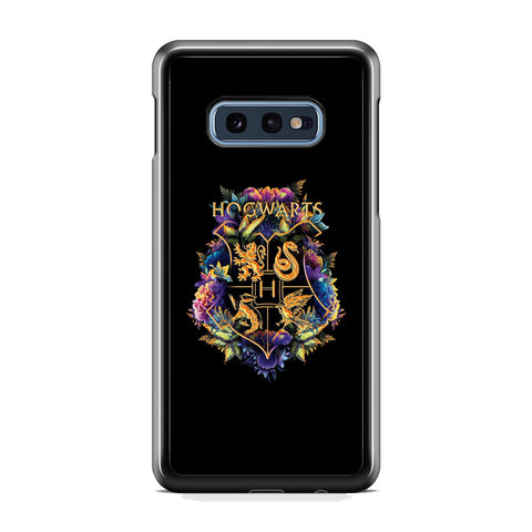 Harry Potter Hogwarts Black Floral Emblem Samsung Galaxy S10E Case