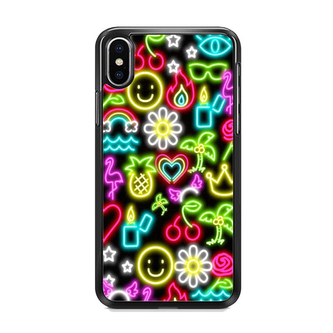 Neon Light Flowers Mix iPhone XS Case