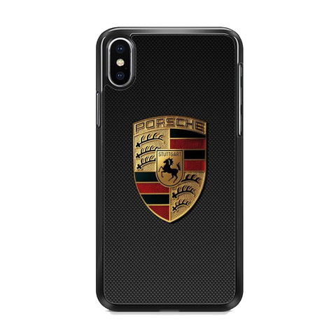 Porche Black Carbon Emblem iPhone XS Case