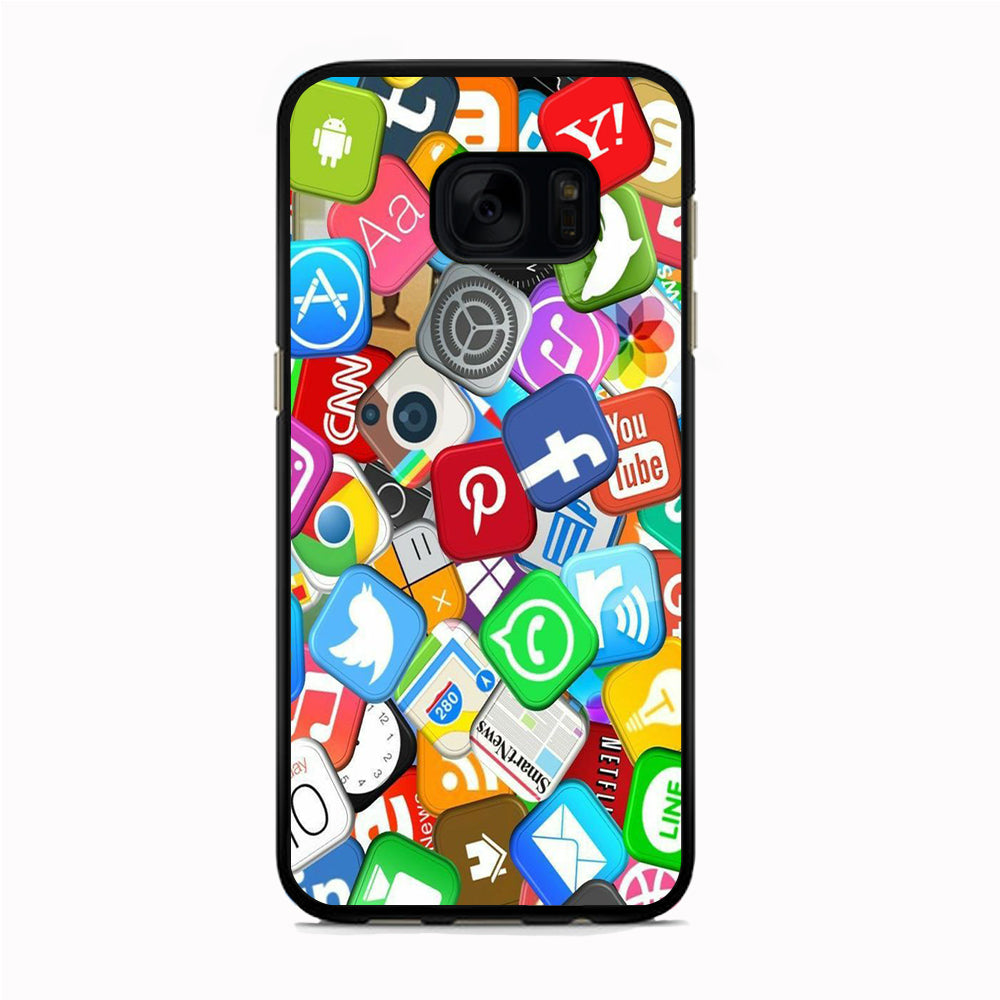 Social Media Mix Emblem Samsung Galaxy S7 Edge Case