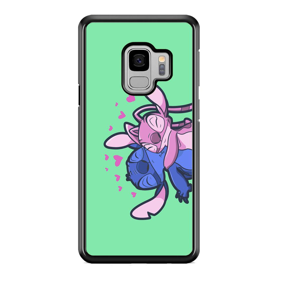 Stitch And Angel Huge Green Wallpaper Samsung Galaxy S9 Case