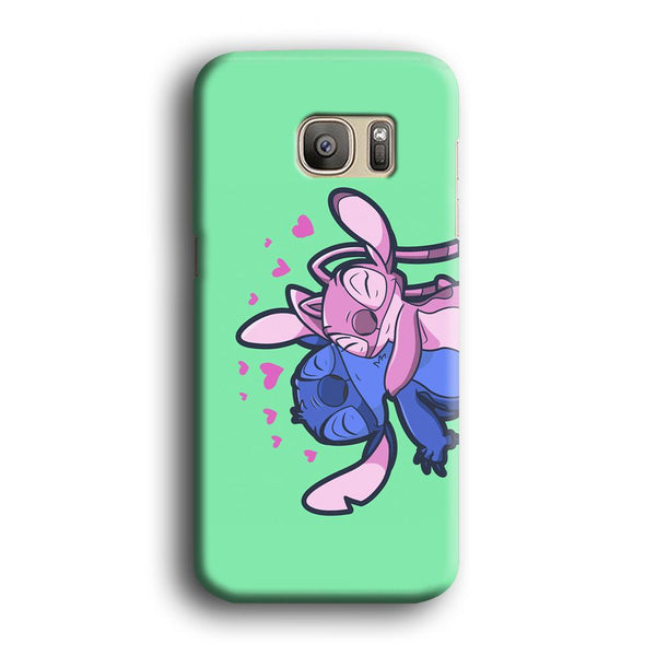 Stitch And Angel Huge Green Wallpaper Samsung Galaxy S7 Case