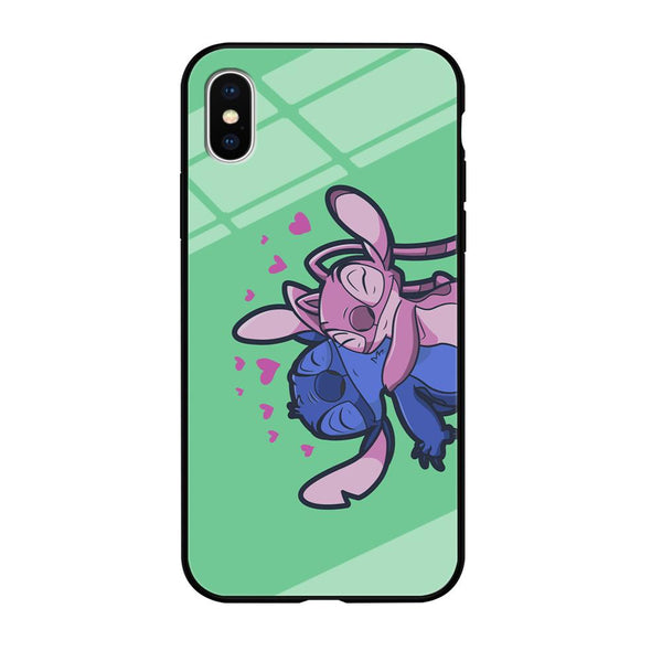 Stitch And Angel Huge Green Wallpaper iPhone XS MAX Case