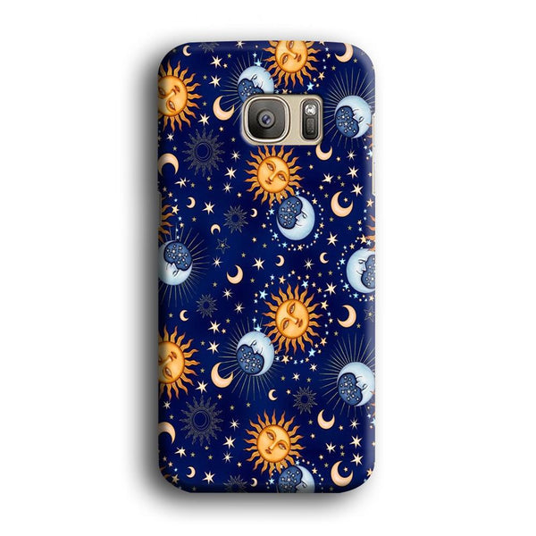 Universe Sun and Moon Face Samsung Galaxy S7 Edge Case