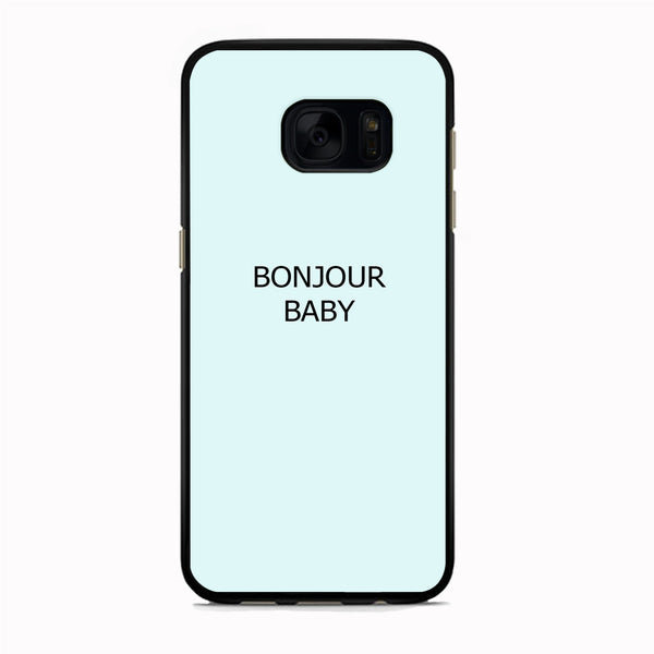 Word Blue Aqua Bonjour Baby Samsung Galaxy S7 Edge Case