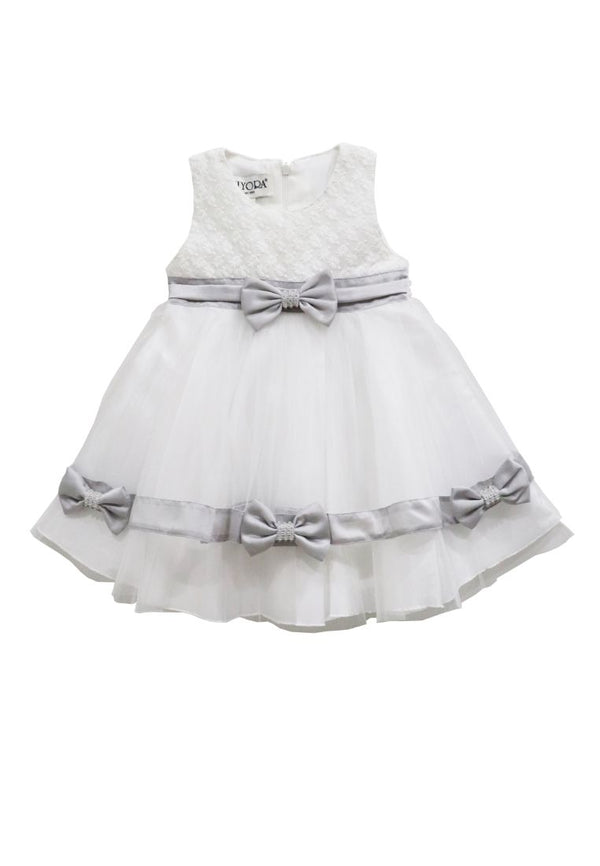 Madelyn Silver Bow Baby Dress