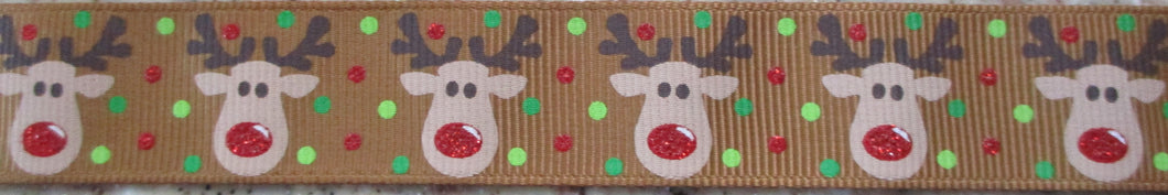 Reindeer...Red Nose on Brown 1 Inch