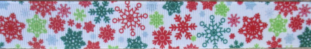 Snowflakes...Greens and Red 1 Inch