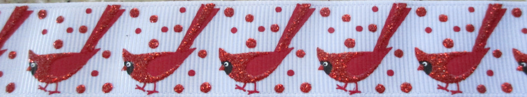 Glitter Cardinals...on White 1 Inch
