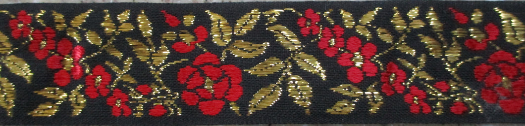 Flowers...Red and Metallic Gold on Black (Vintage)