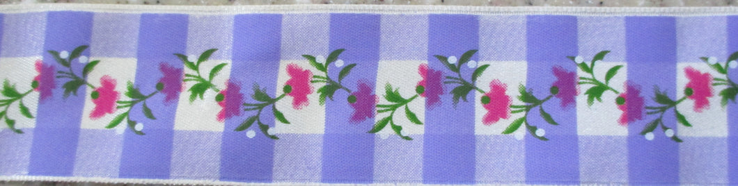 Plaid...Violet with Pink Flower Garland
