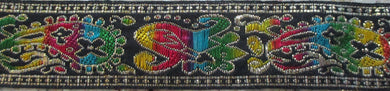 Paisley...Colorful Rainbow on Black 1 Inch