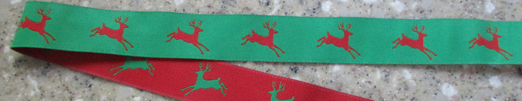Reindeer...Red and Green (Double Sided) 1 Inch