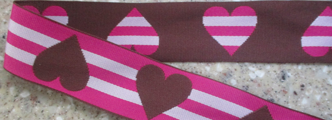 Hearts...Striped Pink and Brown (Double Sided)