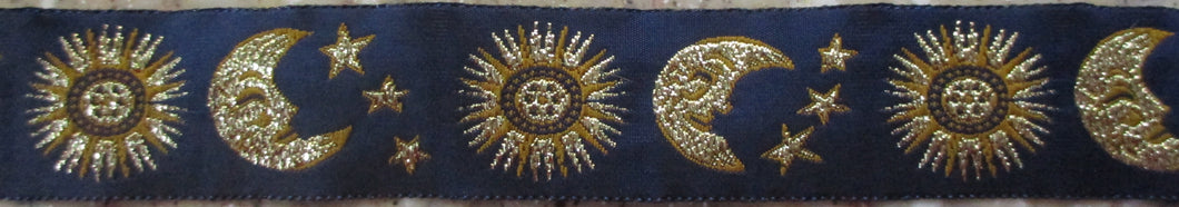 Sun, Stars and Moon...Gold on Blue 1 Inch