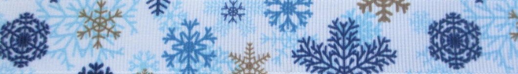 Snowflakes...Blues and Gold 1 Inch