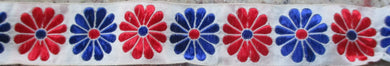 Flowers...Red and Blue on White 1 Inch (Vintage)
