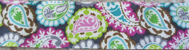 Paisley...Apple Green, Fuchsia and Turquoise on Grey