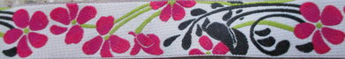 Flowers and Leaves...Fuchsia on White 1 Inch