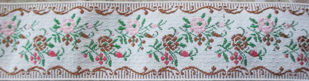 Flowers on White...Pink and Brown (Vintage)