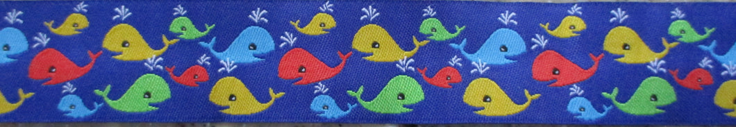 Whales...Red Green Blue Yellow on Blue 1 Inch