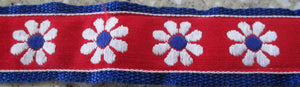 Flowers...Daisy Chain on Red (Vintage)
