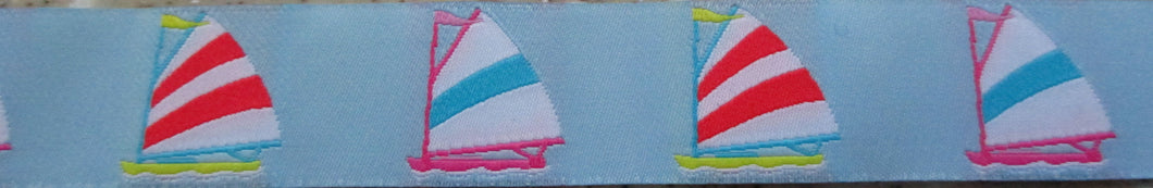 Sailboats on Light Blue 1 Inch