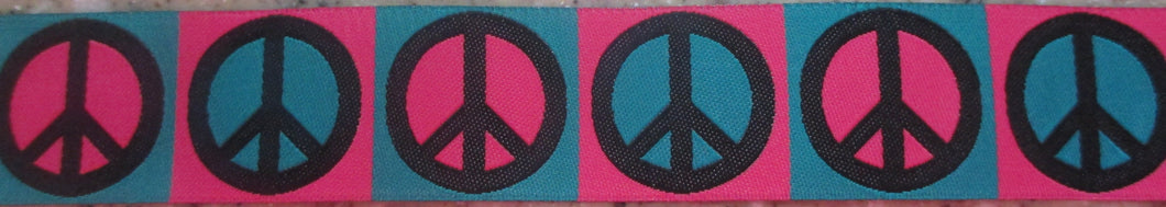 Peace...Pink and Turquoise 1 Inch