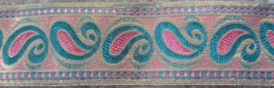 Paisley...Pink and Aqua on Gold