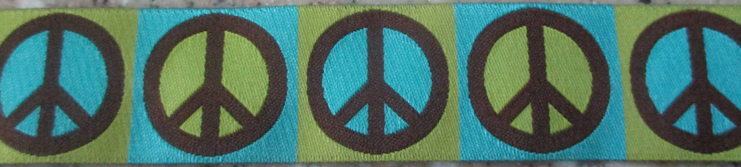 Peace...Turquoise and Brown 1 Inch