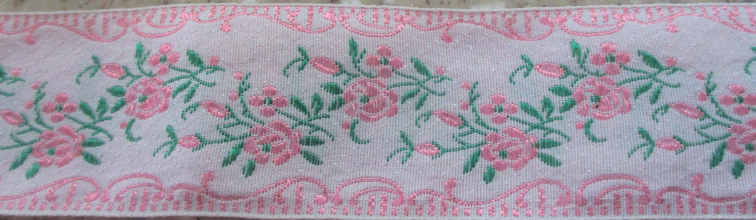 Flowers on White...Pink 1 Inch (Vintage)