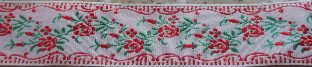 Flowers on White...Red 1 Inch (Vintage)