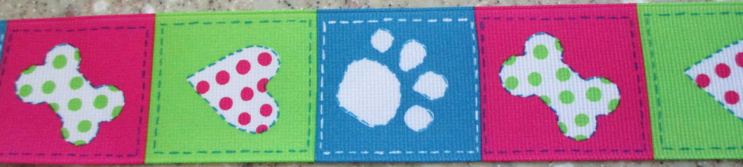 Pawprints...Pink, Green and Blue