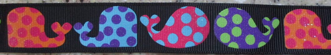 Whales...Polka Dots on Black 1 Inch