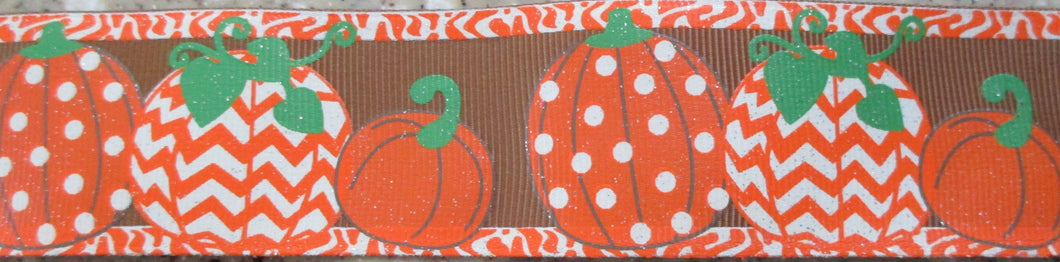 Pumpkins...Dotty and Chevron on Brown
