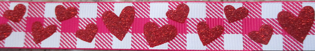 Hearts...Red Glitter on Plaid 1 Inch