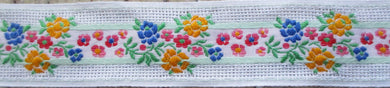 Flowers...Colorful on White Mesh (Vintage)