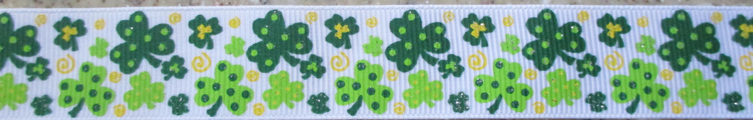 Shamrocks...Dotty on White 1 Inch
