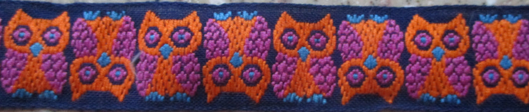 Owls...Orange on Blue 1 Inch (Vintage)