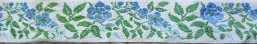 Flowers...Blue Ombre as White 1 Inch (Vintage)