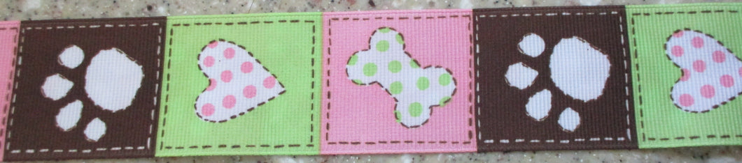 Pawprints...Pink, Brown and Light Green