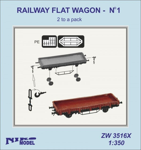 Railway flat wagon No 1 x 2