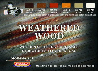Lifecolor weathered wood paint set