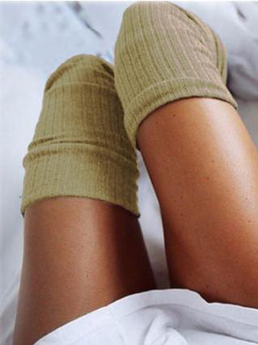 Solid Color Knitted Thigh-High Socks