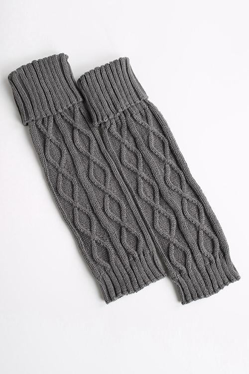 Fold Over Cable Knit Leg Warmers